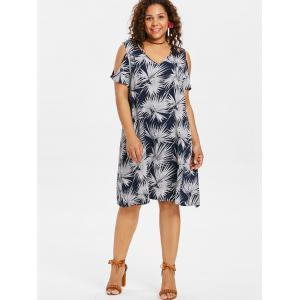 Plus Size Leaf Cold Shoulder Dress -