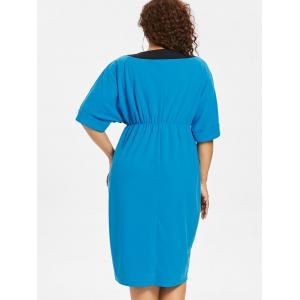 Plus Size Two Tone Empire Waist Dress -