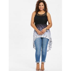 Bat Print Plus Size Lace Panel High Low Top -