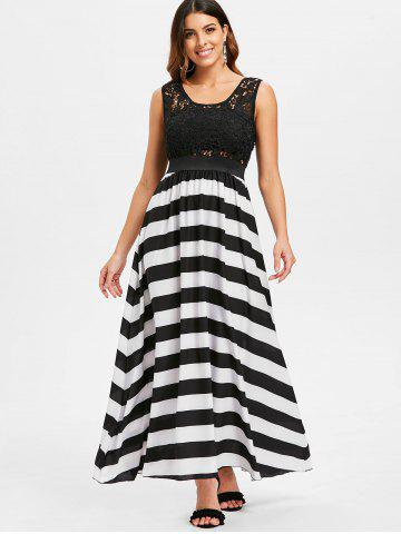 A Line Striped Lace Panel Maxi Flowy Prom Dress