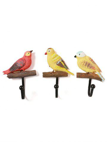 Trendy 3 Pcs Birds Pattern Decorative Wall Hooks