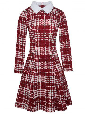 Outfit Flat Neck Plaid Print Fit and Flare Dress