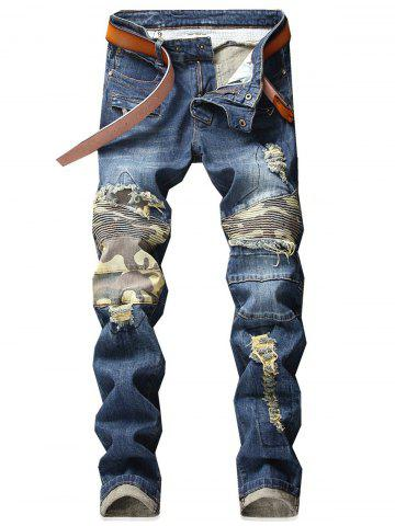 New Camo Patchwork Distressed Destroyed Straight Jeans