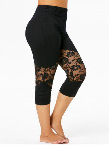 Online Plus Size Lace Insert Cropped Leggings