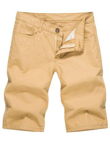 Store Casual Solid Color Zip Fly Shorts
