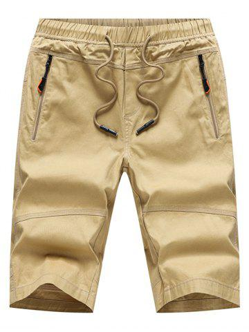 Sale Zip Pockets Elastic Waist Bermuda Shorts
