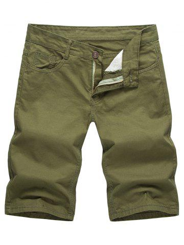 Fancy Casual Solid Color Zip Fly Shorts