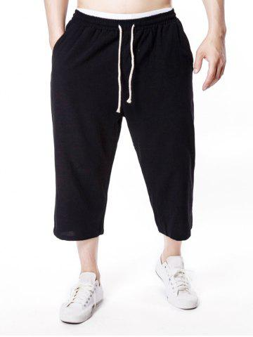 Latest Solid Color Drawstring Nine Minutes of Pants