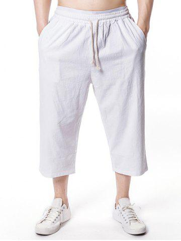Chic Solid Color Drawstring Nine Minutes of Pants