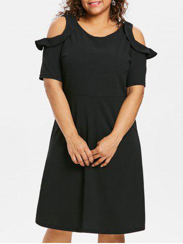 Outfit Plus Size Cold Shoulder Ruffle Dress