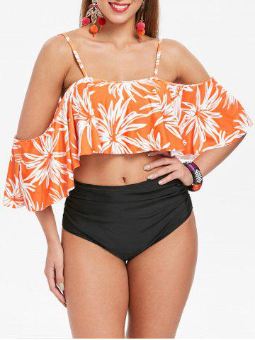 Sale Flounce High Leg Flower Bikini Set