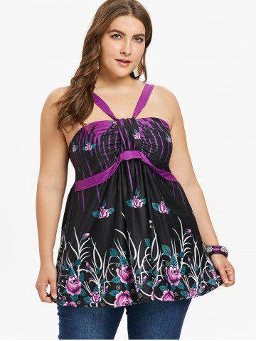 Plus Size Empire Waist Floral Tank Top