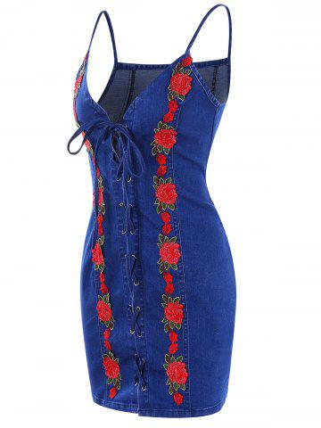Lace Up Embroidery Mini Denim Dress