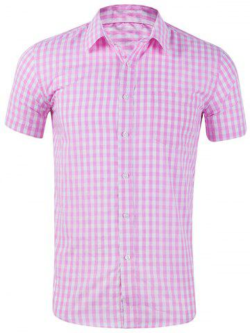 Single Chest Pocket Check Pattern Casual Shirt