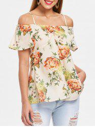 Floral Print Cold Shoulder Blouse -
