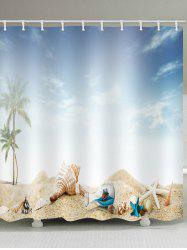 Conch Starfish Drift Bottle Printed Waterproof Bath Curtain -