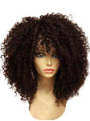 Medium Full Bang Fluffy Afro Curly Synthetic Wig -