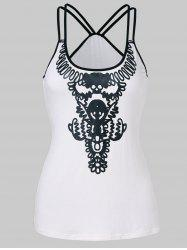 Double Straps Slim Fit Print Tank Top -