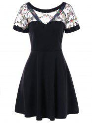 Floral Mesh Panel Fit and Flare Dress -