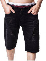 Zip Fly Panel Distressed Denim Shorts -