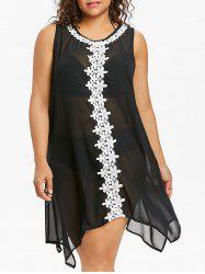 Plus Size Crochet Handkerchief Cover Up -