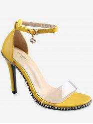 Beading Crystal Transparent Strap Ankle Strap Chic Sandals -