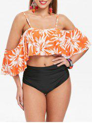 Flounce High Leg Flower Bikini Set -