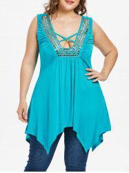 Plus Size Handkerchief Hem Plunging Tank Top -