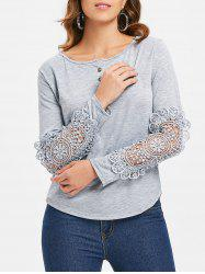 Casual Scoop Neck Lace Splicing Long Sleeve T-Shirt For Women -