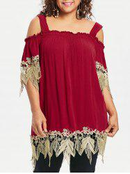 Plus Size Cold Shoulder Square Neck Blouse -