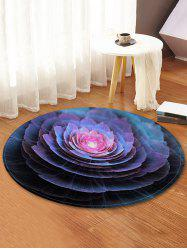 3D Flower Print Round Fleece Floor Rug -