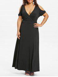 Plus Size Cold Shoulder Surplice Dress -