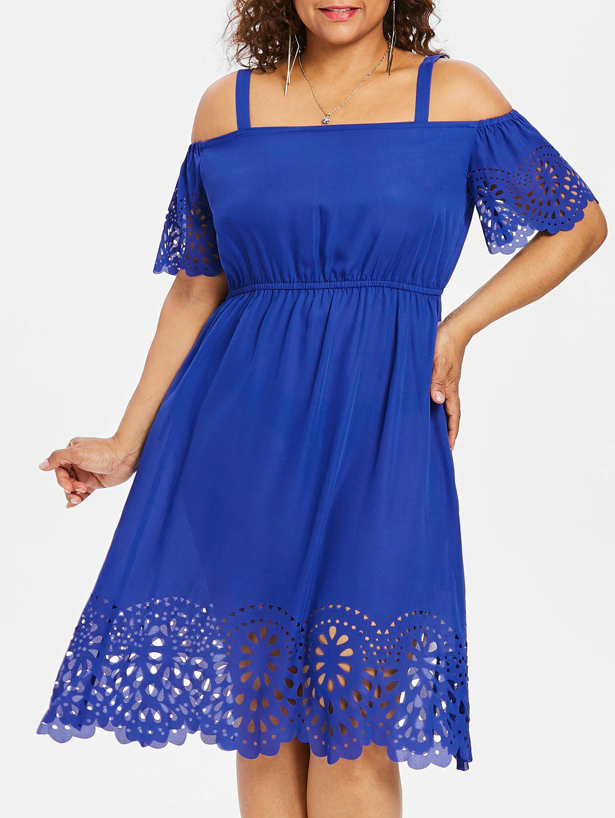 Trendy Square Neck Plus Size Cutwork Knee Length Dress