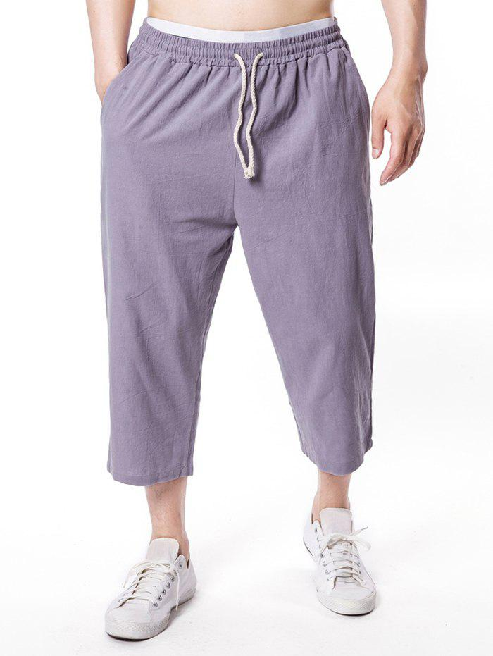 Cheap Solid Color Drawstring Nine Minutes of Pants