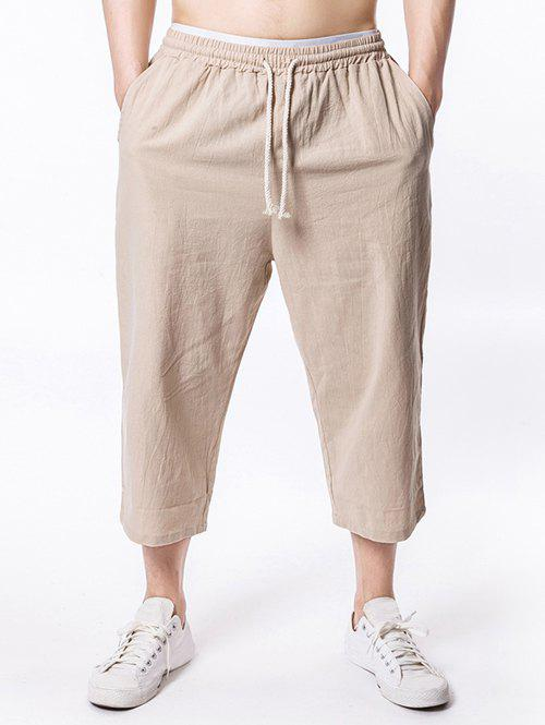 Shops Solid Color Drawstring Nine Minutes of Pants
