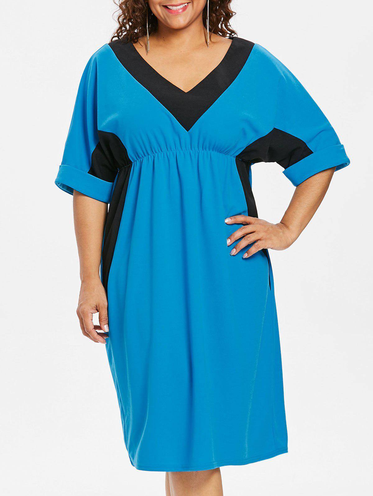 Robe Taille Empire Deux-Tons Grande-Taille