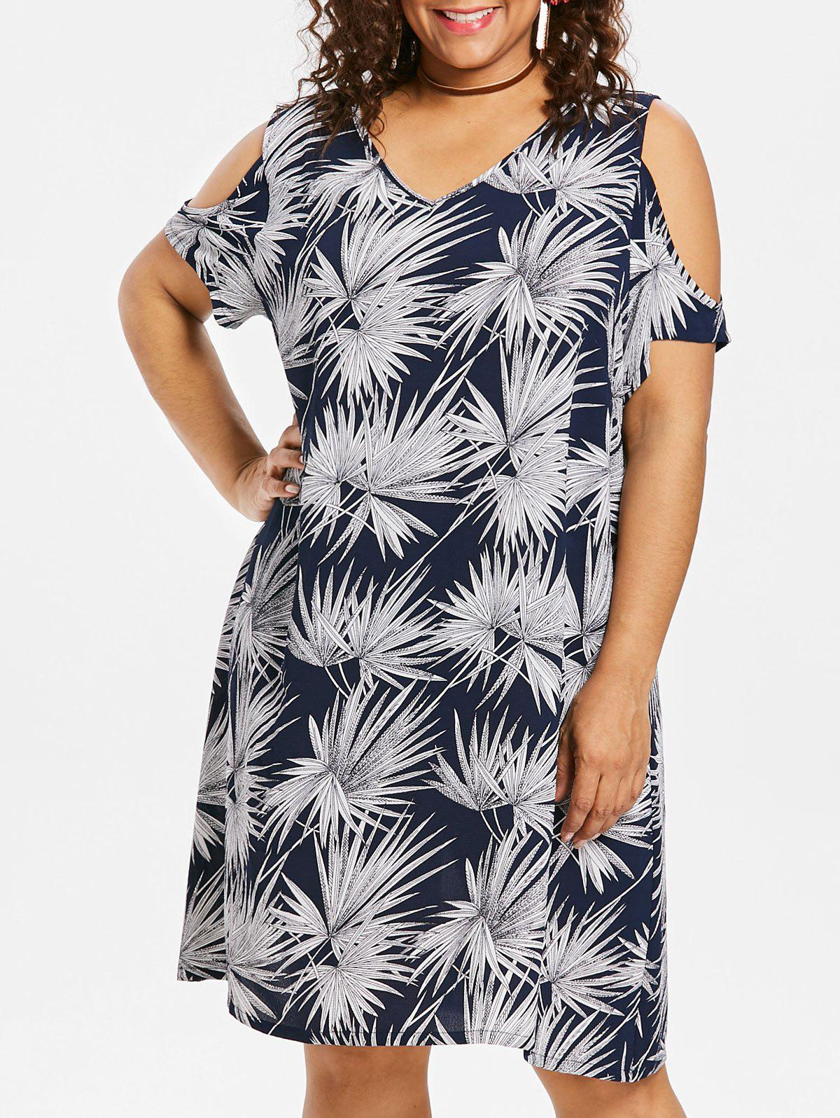 Affordable Plus Size Leaf Cold Shoulder Dress