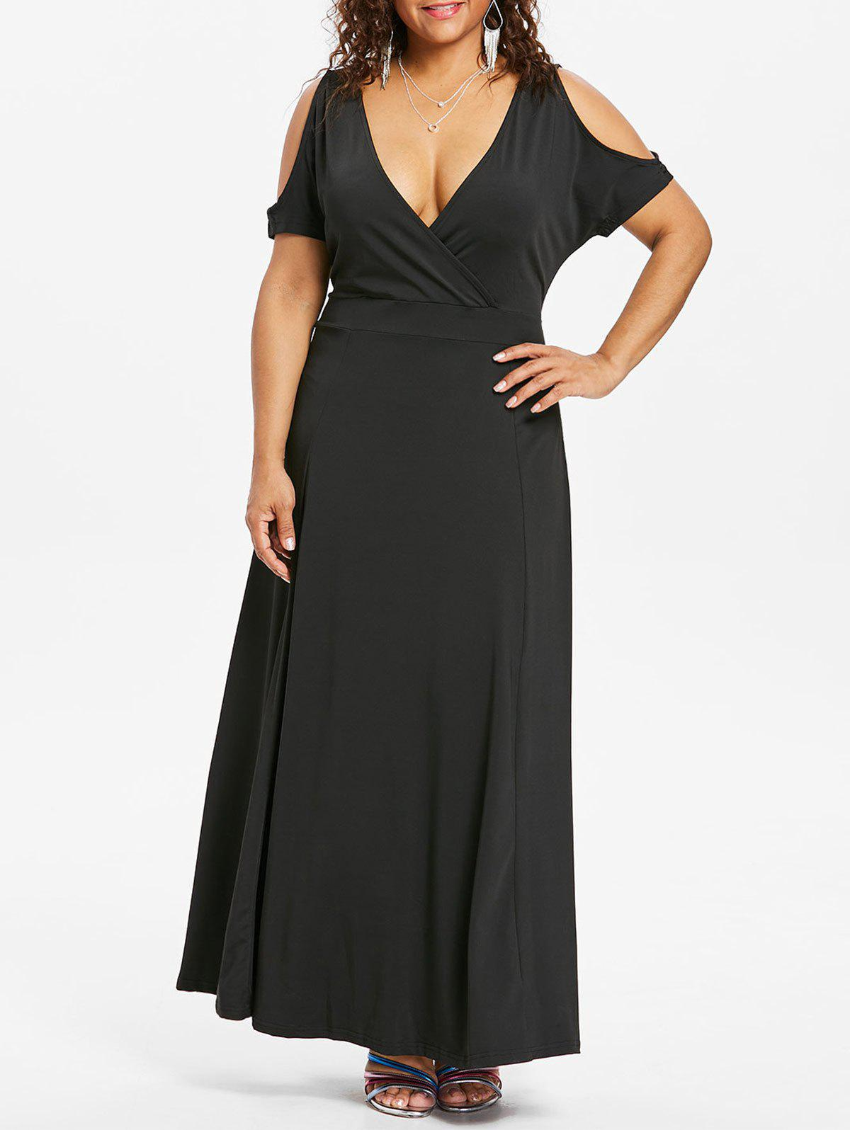 Unique Plus Size Cold Shoulder Surplice Dress