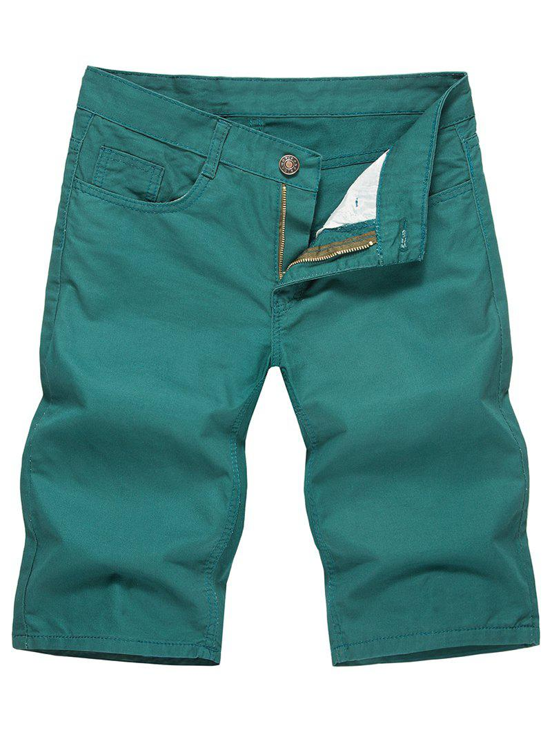 Affordable Casual Solid Color Zip Fly Shorts