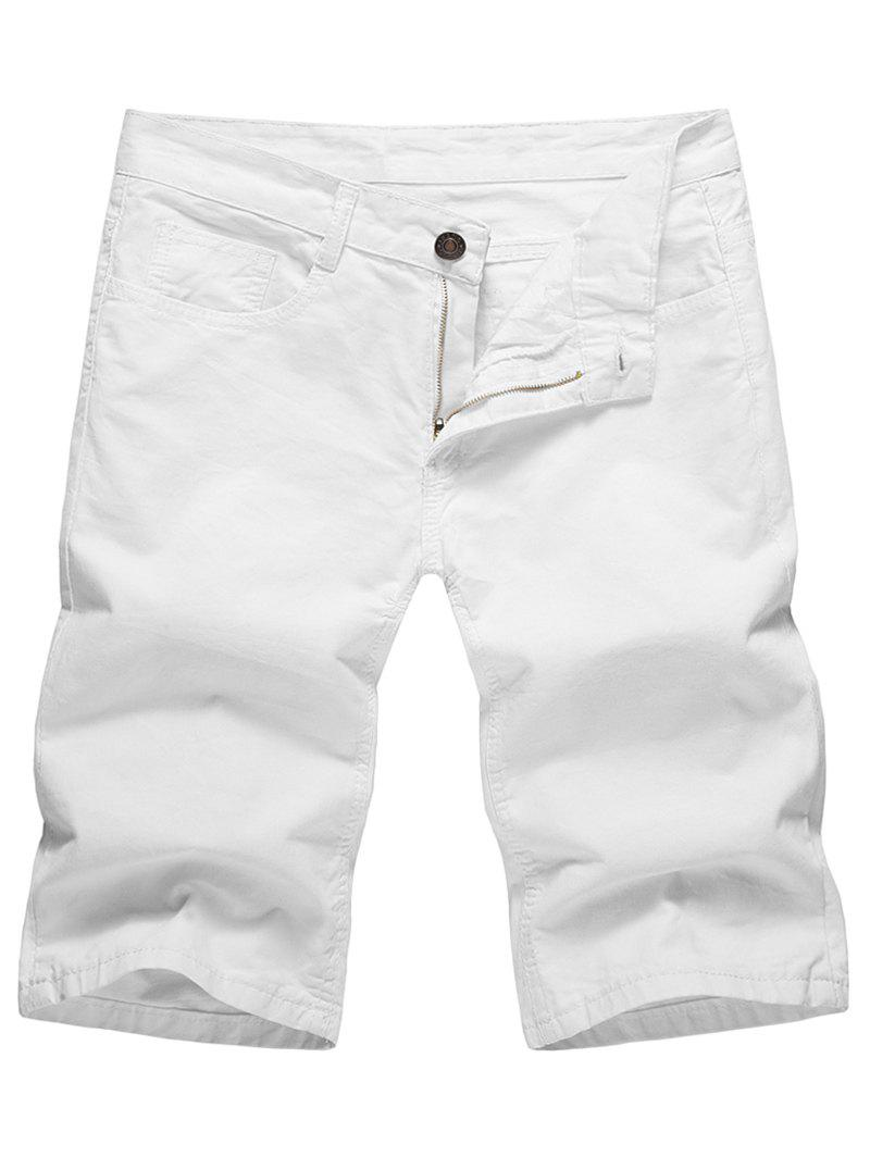 Shop Casual Solid Color Zip Fly Shorts