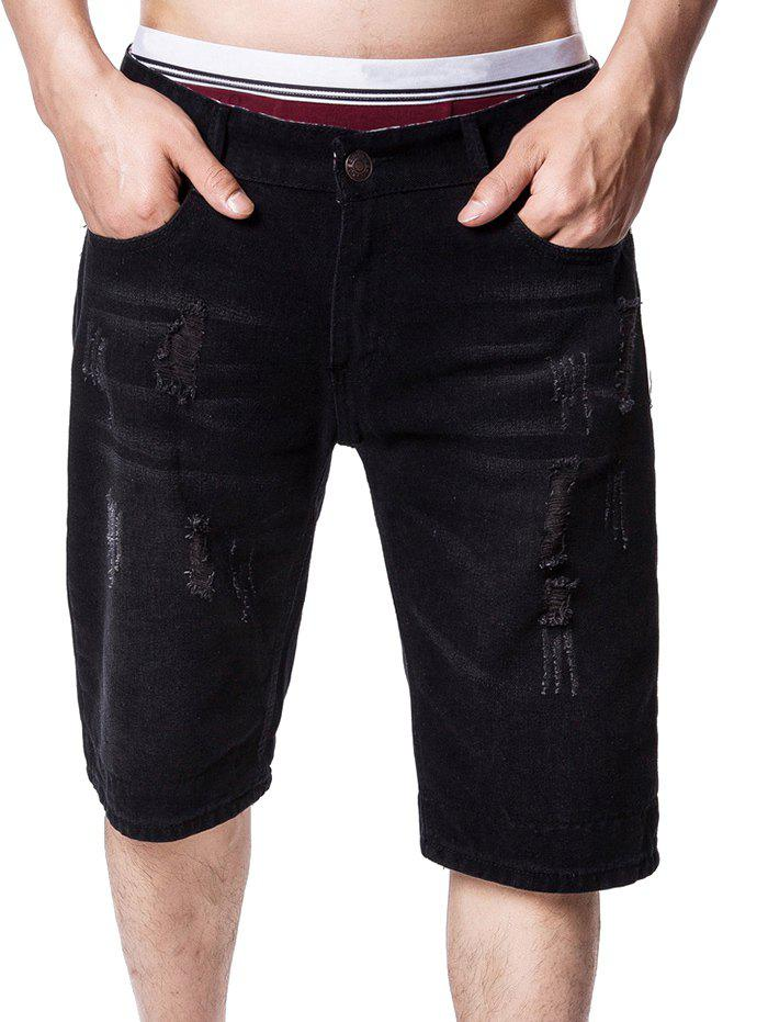 Trendy Zip Fly Panel Distressed Denim Shorts