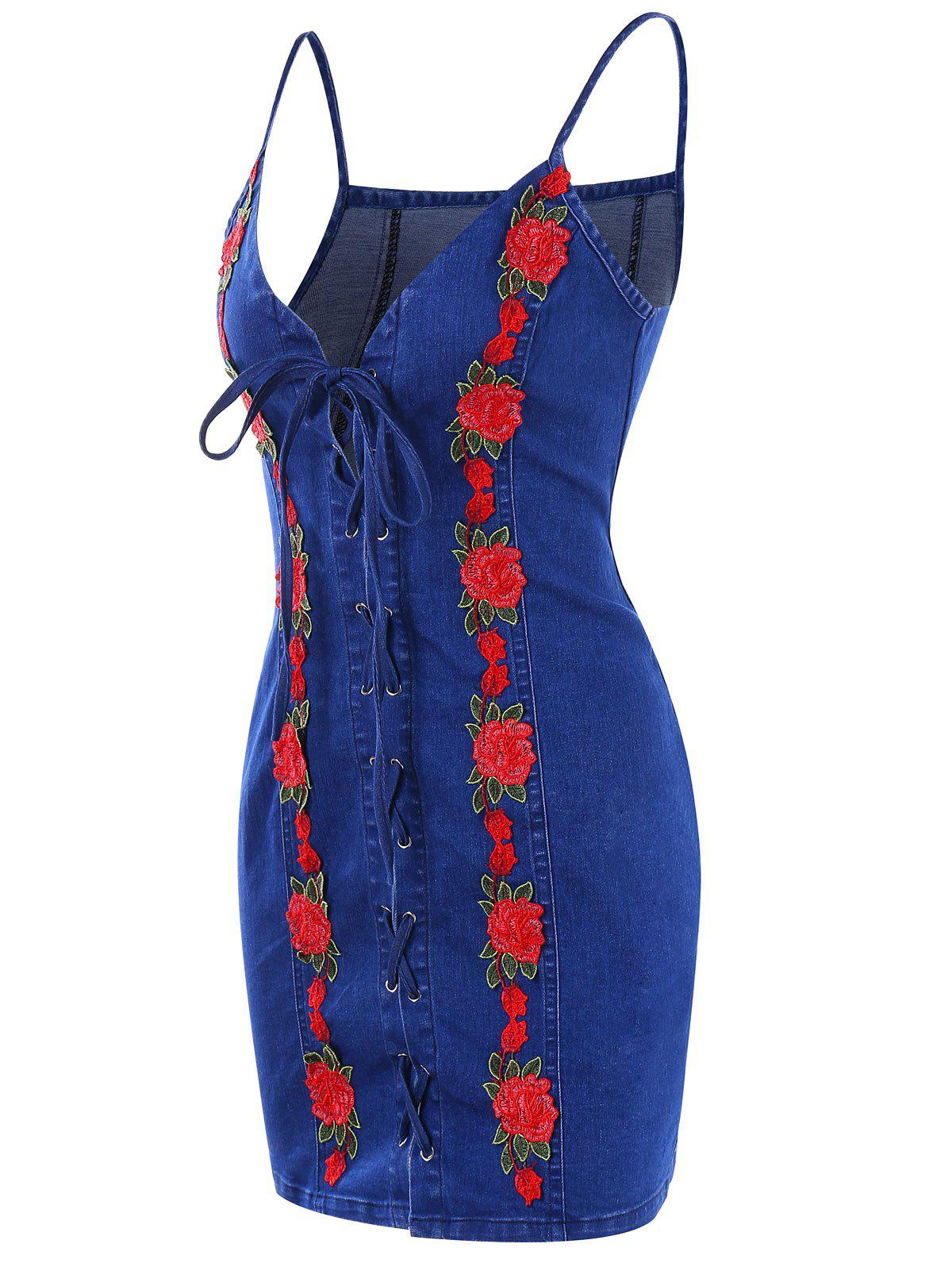 New Lace Up Embroidery Mini Denim Dress