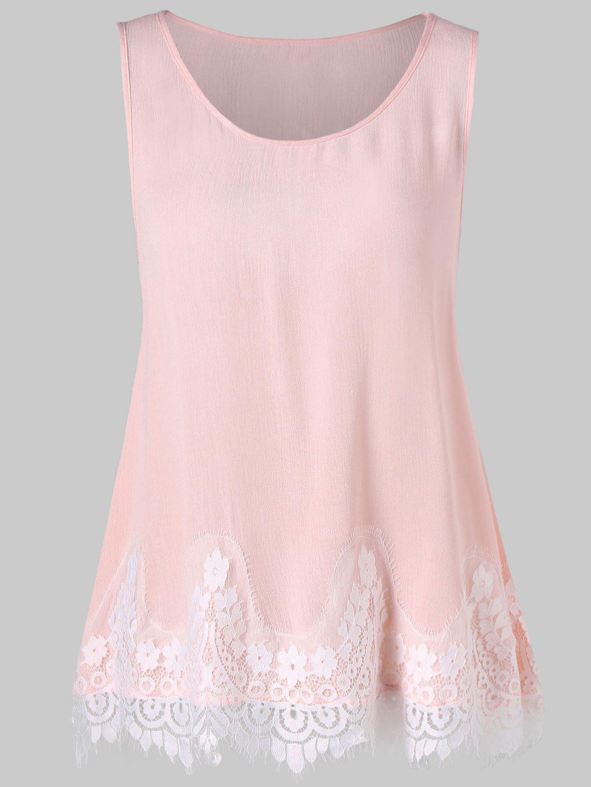 Outfits Lace Trim Hollow Out Trapeze Tank Top
