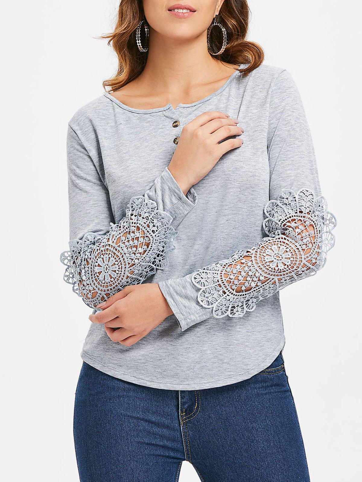 Outfit Casual Scoop Neck Lace Splicing Long Sleeve T-Shirt For Women