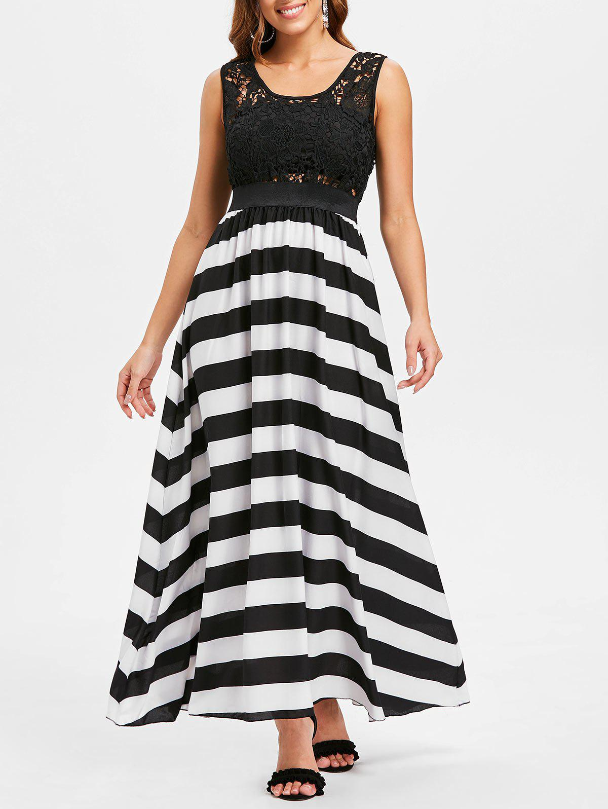Sale A Line Striped Lace Panel Maxi Flowy Prom Dress