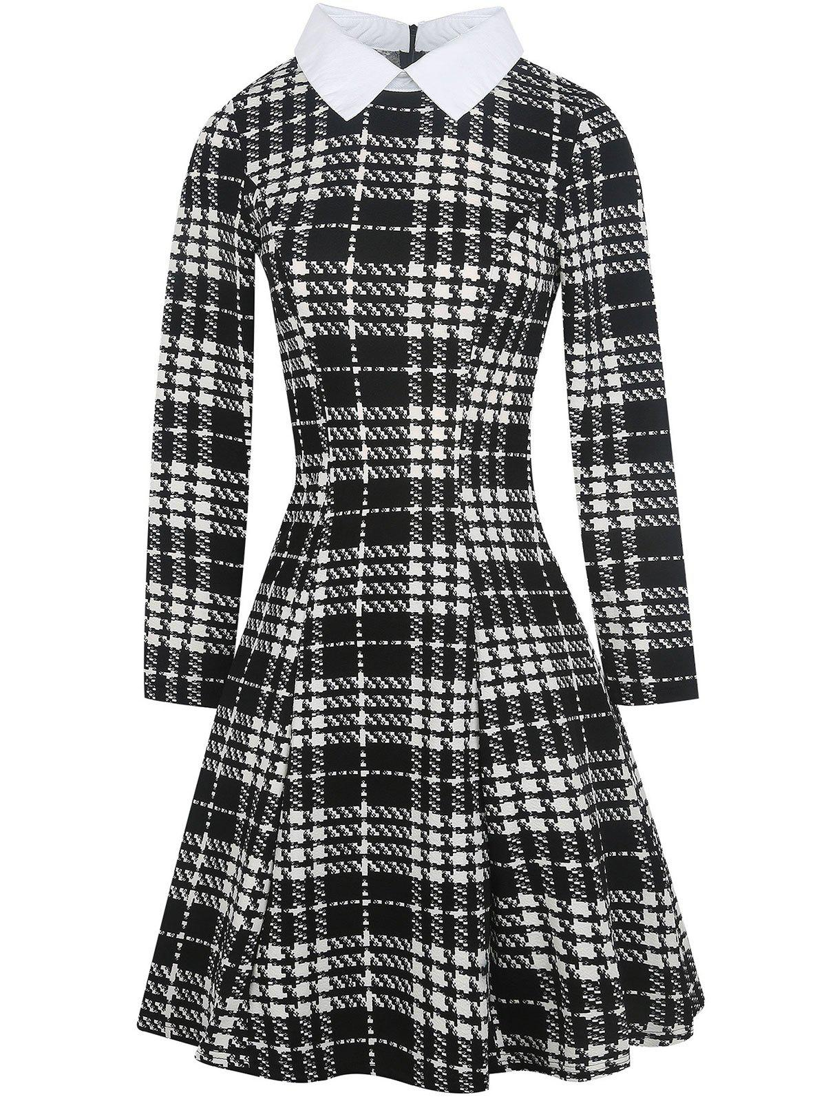 Trendy Flat Neck Plaid Print Fit and Flare Dress
