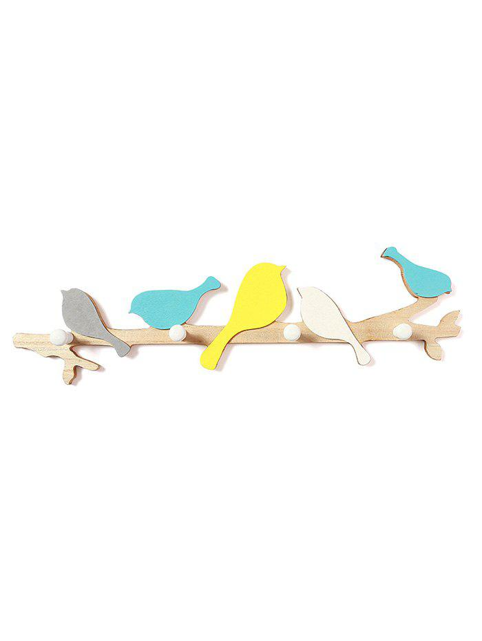 Fancy Birds Pattern Wooden Hook Rack
