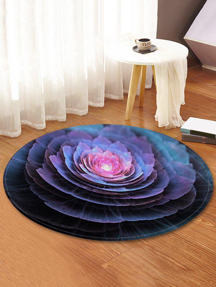 Fashion 3D Flower Print Round Fleece Floor Rug