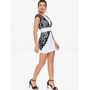 Contrast Lace Bodycon Mini Homecoming Dress -
