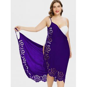 Plus Size Openwork Floral Slip Cover Up Dress -
